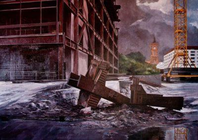 quadre: Ajuntament - tècnica: mixta sobre tela - 50 F - 116 x 89 cm
