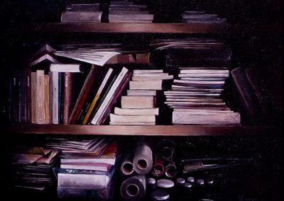 quadre: Objectes i papers - tècnica: mixta sobre tela - 6 F - 41 x 33 cm