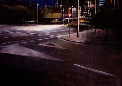 quadre: Autocar de nit - tècnica: mixta sobre tela - 30 F - 92 x 73 cm