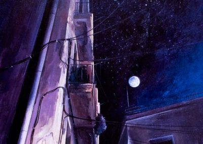 quadre: Carrer de Fraga per la nit - tècnica: Mixta sobre tela - 15F - 65 x 54 cm