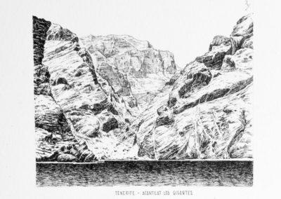 quadre: Acantilat dels Gegants - tècnica: plumilla - tinta sobre paper - 15 x 12 cm