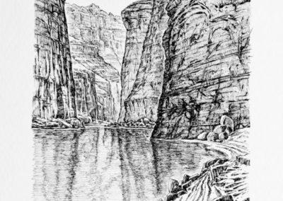 quadre: Canyon Marble - tècnica: plumilla - tinta sobre paper -   21 x 14 cm