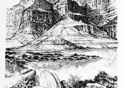 quadre: Riu Colorado Chiquito - tècnica: plumilla - tinta sobre paper -   21 x 18 cm
